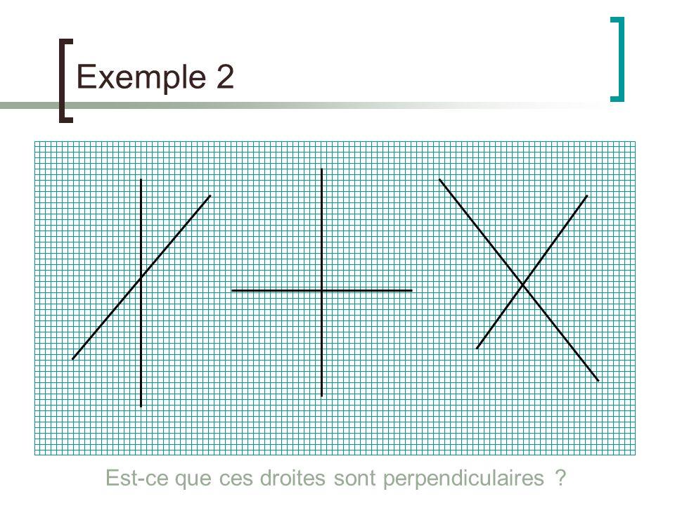 Exemple 2 Est-ce que ces droites sont perpendiculaires