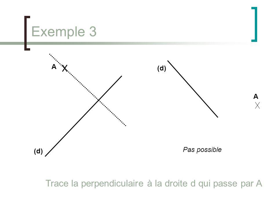 Exemple 3 Trace la perpendiculaire à la droite d qui passe par A A (d)