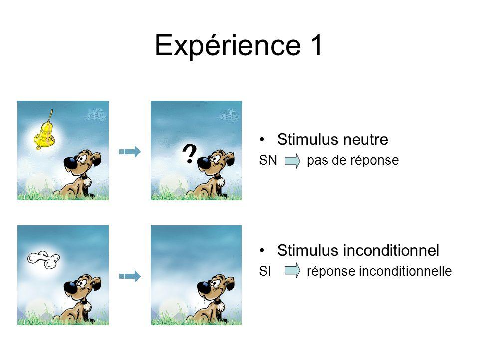 Expérience 1 Stimulus neutre Stimulus inconditionnel SN pas de réponse