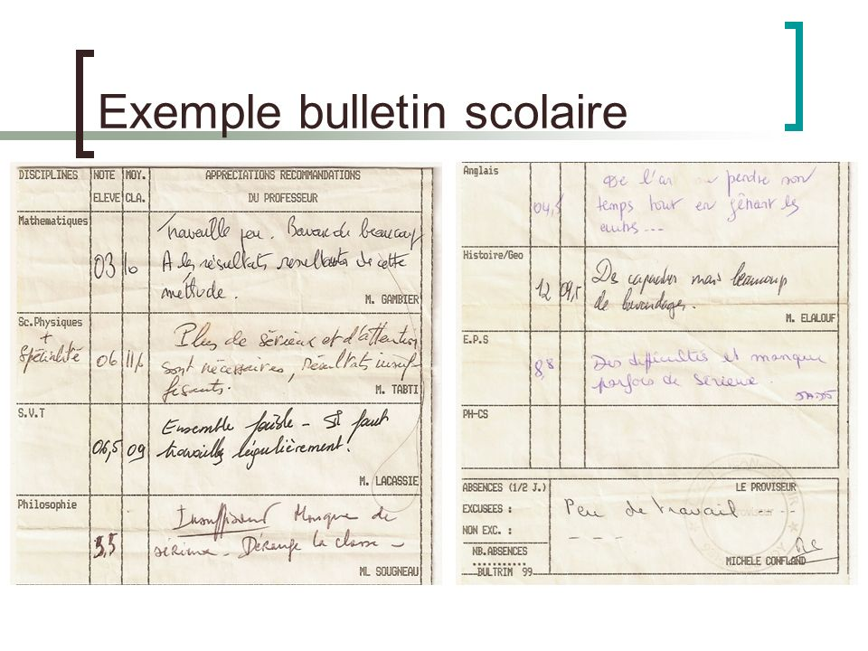 Exemple bulletin scolaire