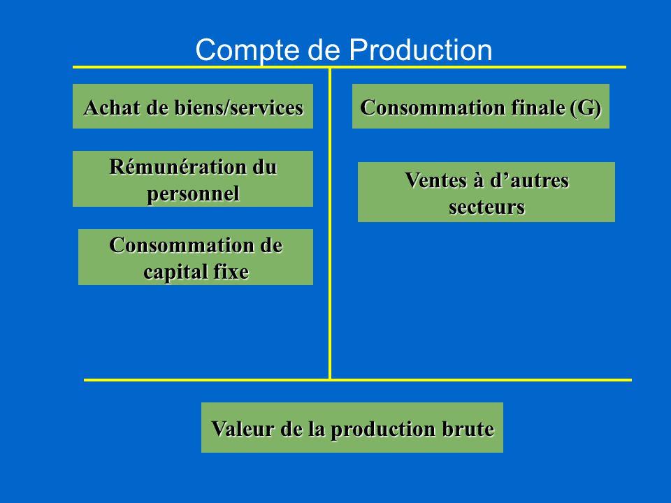 Compte de Production Achat de biens/services Consommation finale (G)