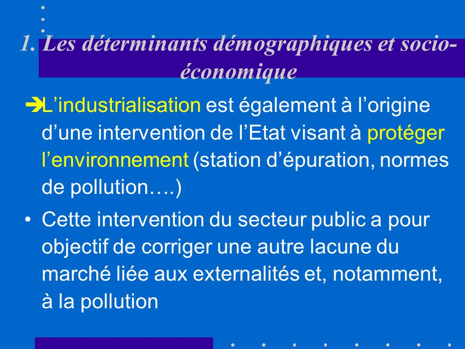 1. Les déterminants démographiques et socio-économique