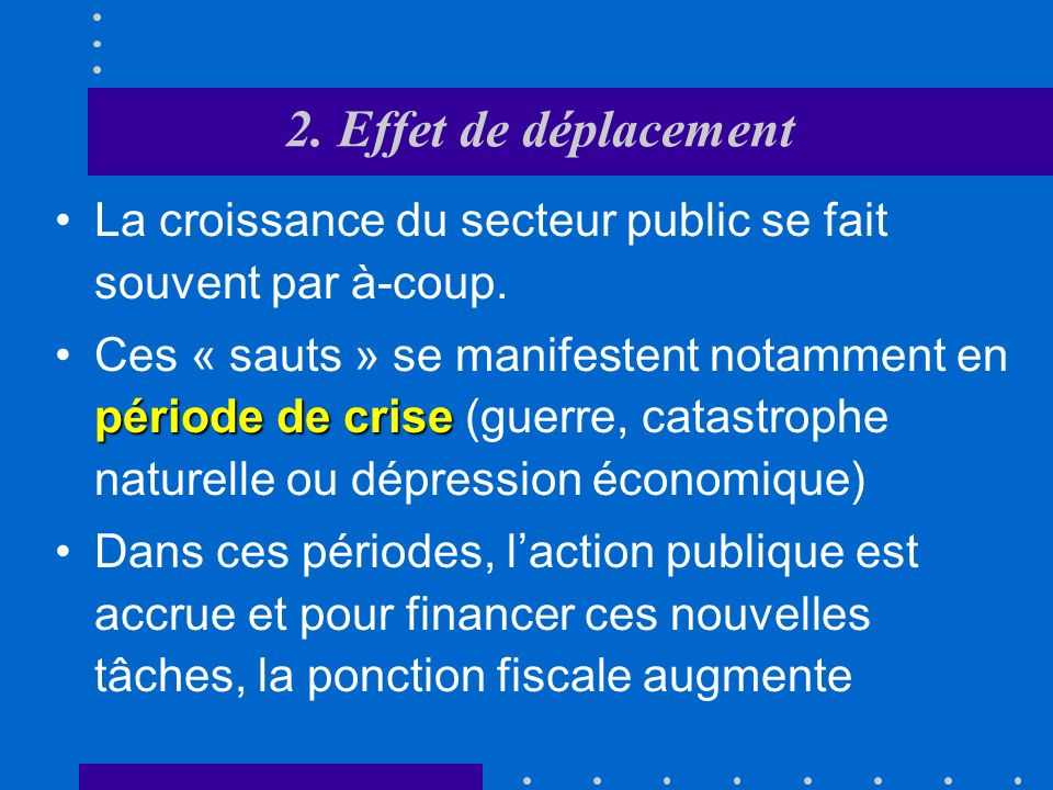 2. Effet de déplacement La croissance du secteur public se fait souvent par à-coup.