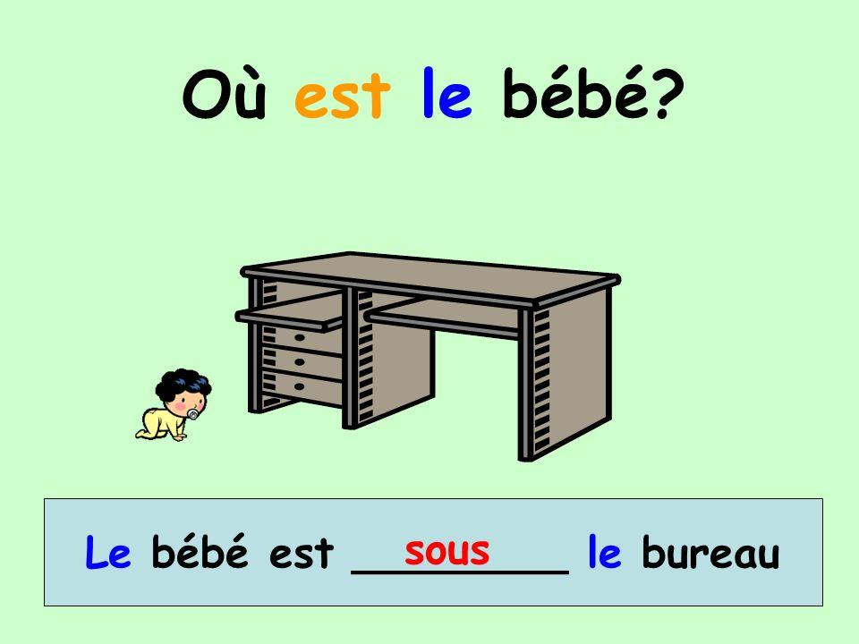 Le bébé est ________ le bureau