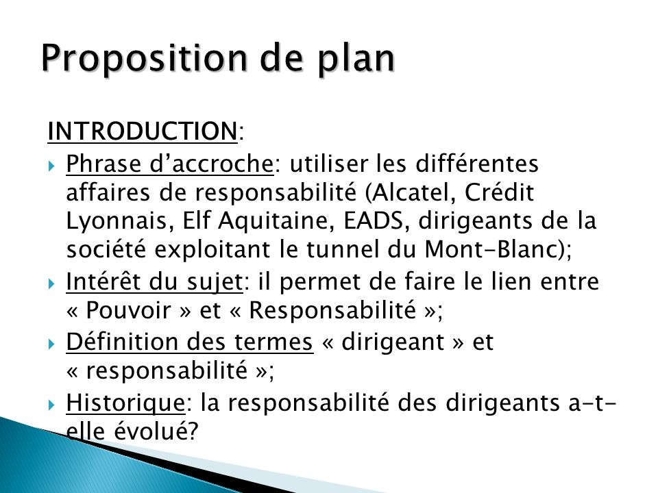 Proposition de plan INTRODUCTION: