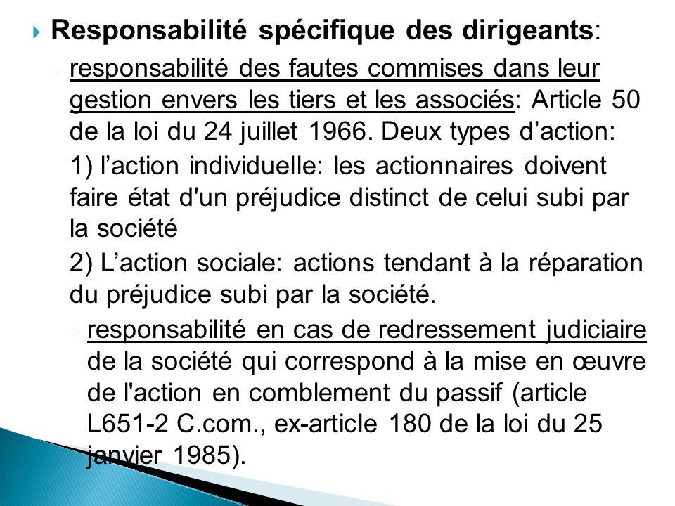Responsabilité spécifique des dirigeants: