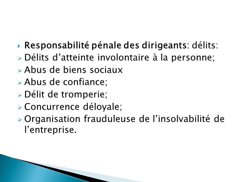 Responsabilité pénale des dirigeants: délits: