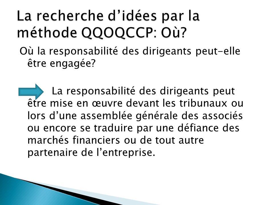 La recherche d'idées par la méthode QQOQCCP: Où
