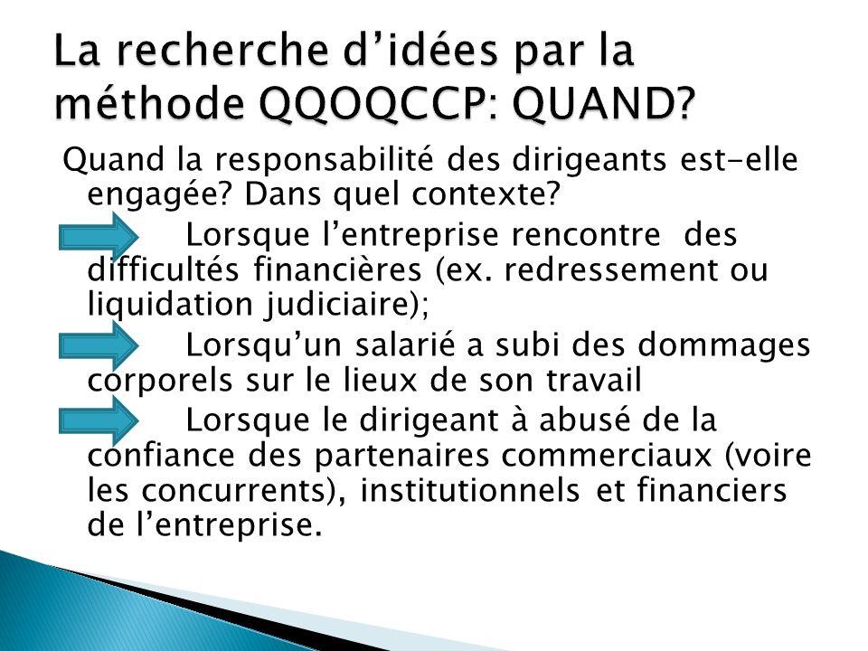 La recherche d'idées par la méthode QQOQCCP: QUAND