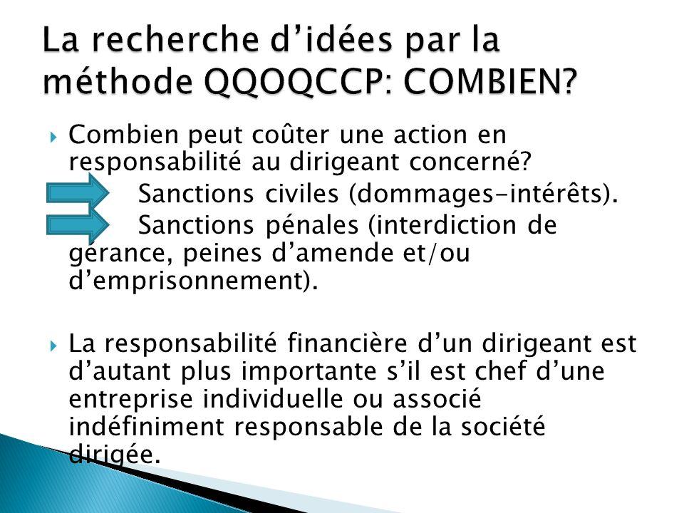 La recherche d'idées par la méthode QQOQCCP: COMBIEN