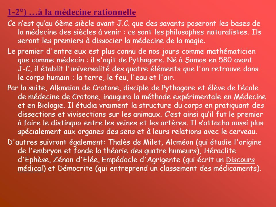 1-2°) …à la médecine rationnelle