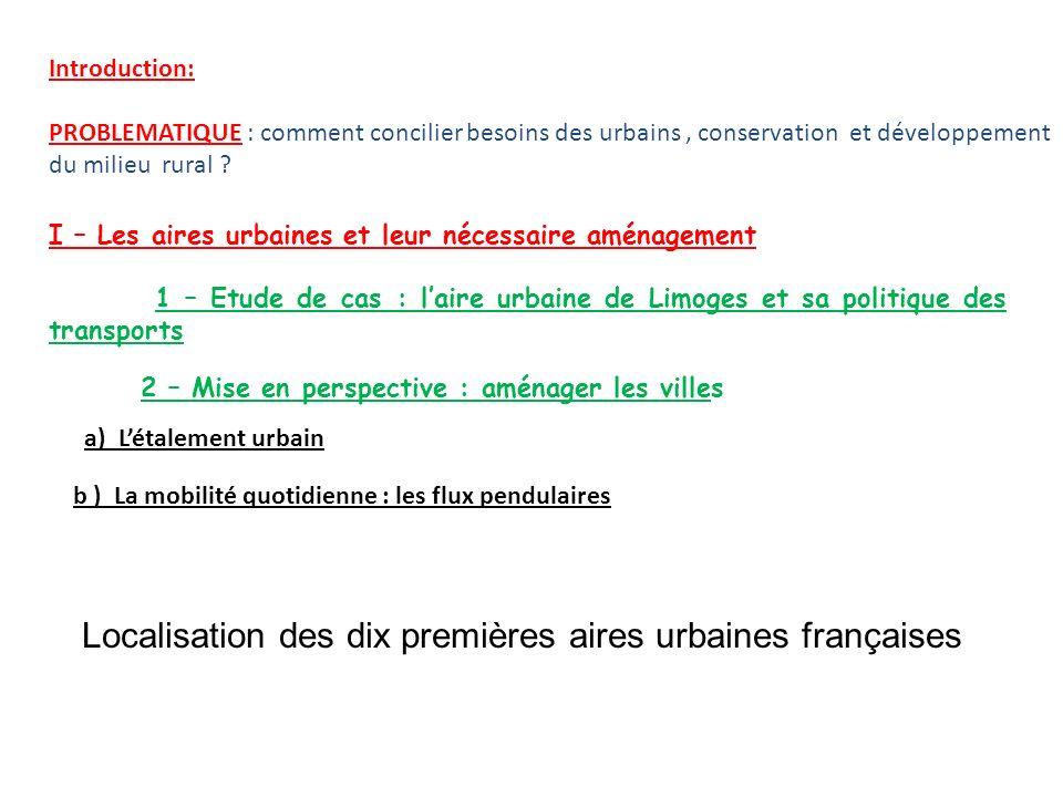 Localisation des dix premières aires urbaines françaises