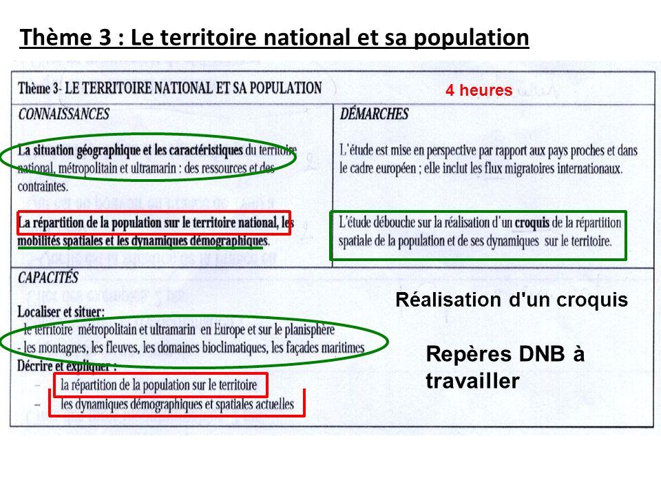 Thème 3 : Le territoire national et sa population
