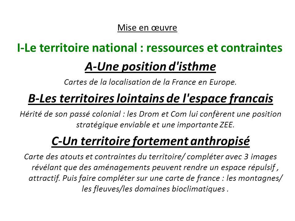 I-Le territoire national : ressources et contraintes