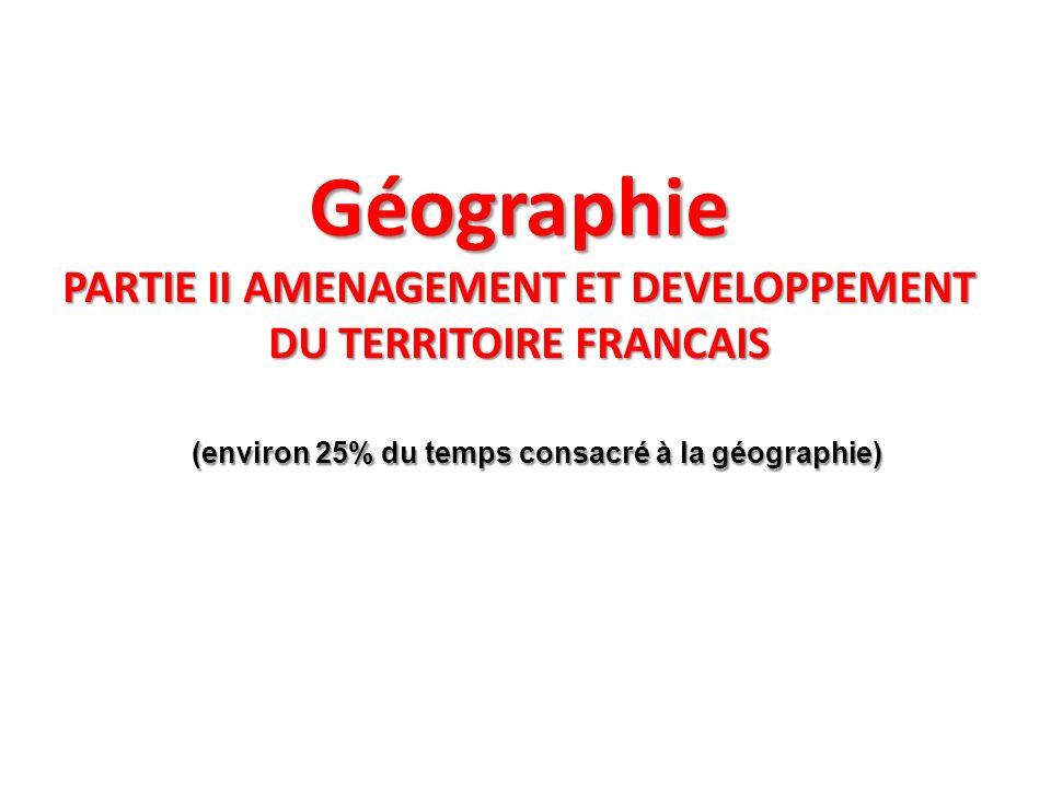 (environ 25% du temps consacré à la géographie)