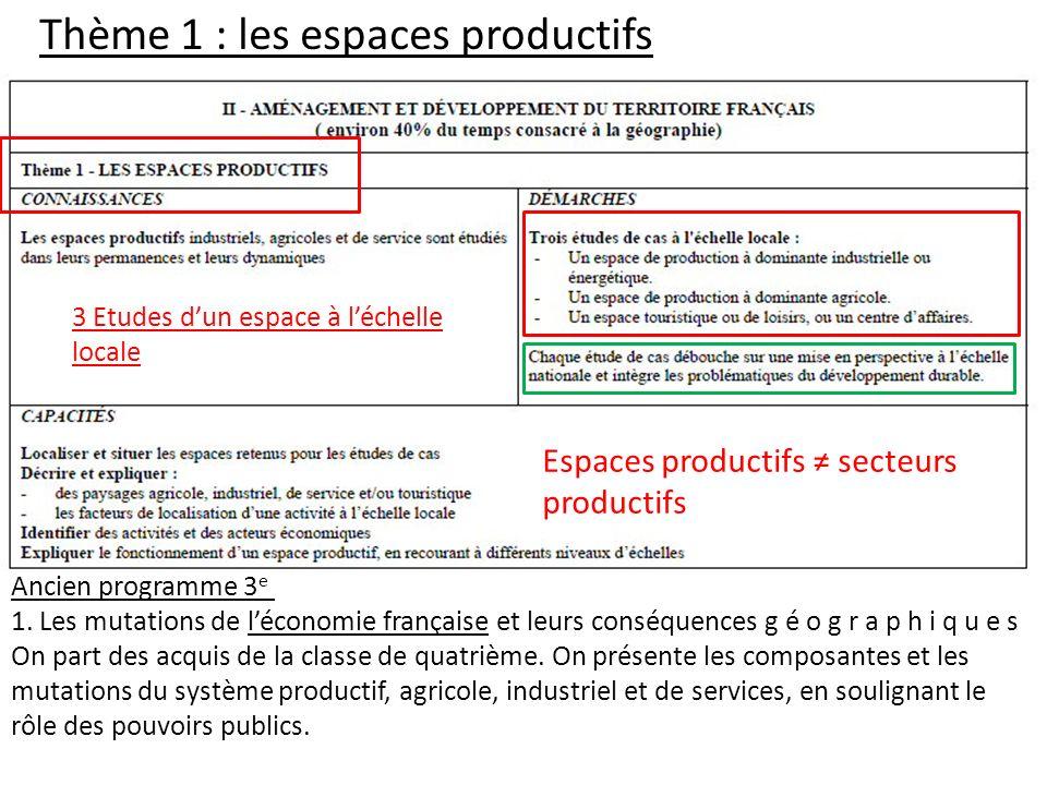 Thème 1 : les espaces productifs