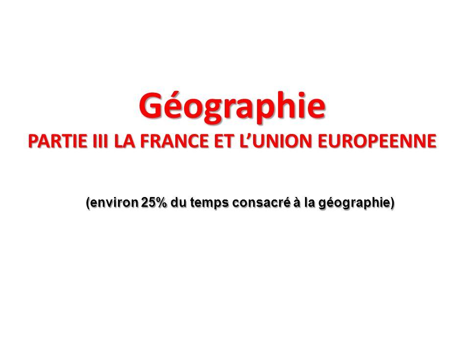 Géographie PARTIE III LA FRANCE ET L'UNION EUROPEENNE