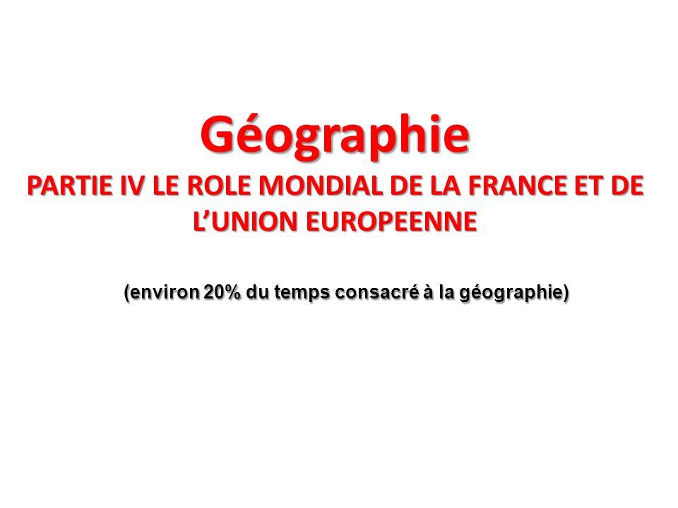 (environ 20% du temps consacré à la géographie)