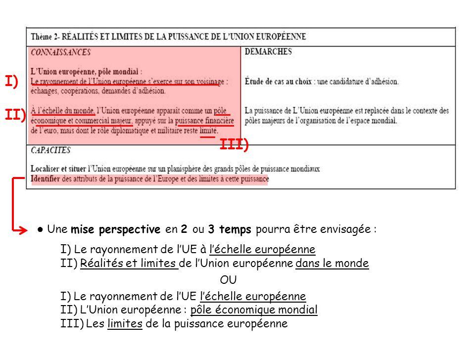 I) II) III) ● Une mise perspective en 2 ou 3 temps pourra être envisagée : I) Le rayonnement de l'UE à l'échelle européenne.