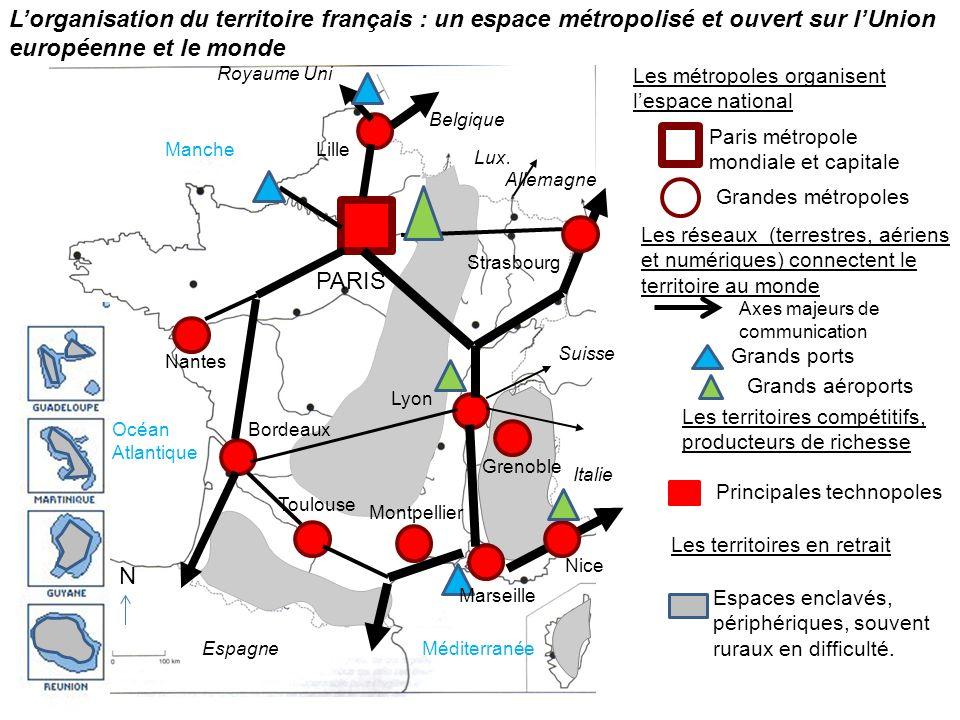 L'organisation du territoire français : un espace métropolisé et ouvert sur l'Union européenne et le monde
