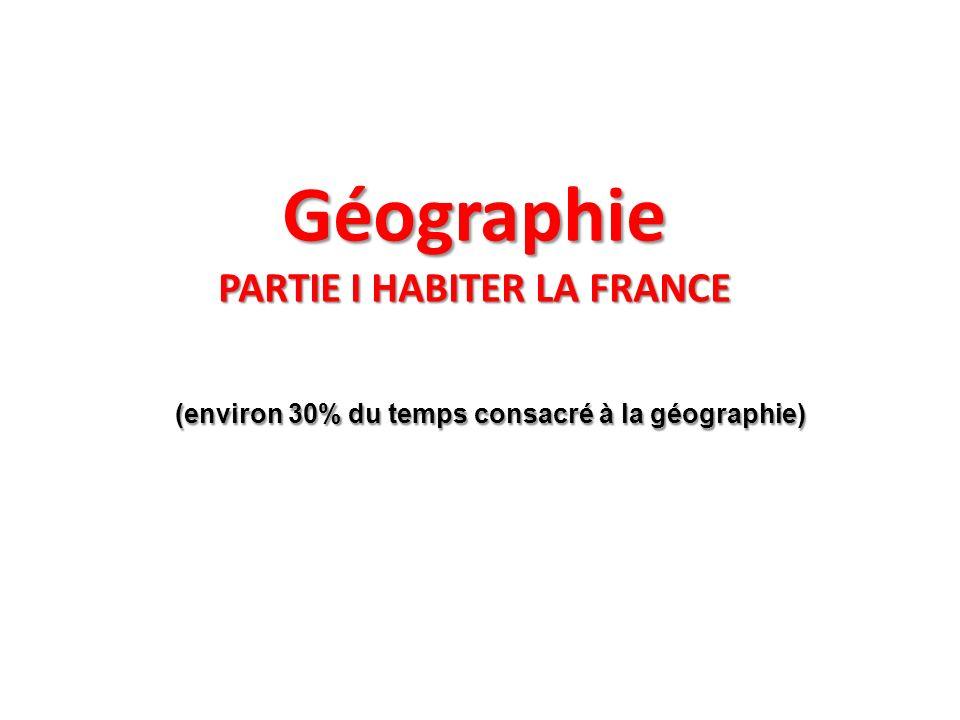 Géographie PARTIE I HABITER LA FRANCE