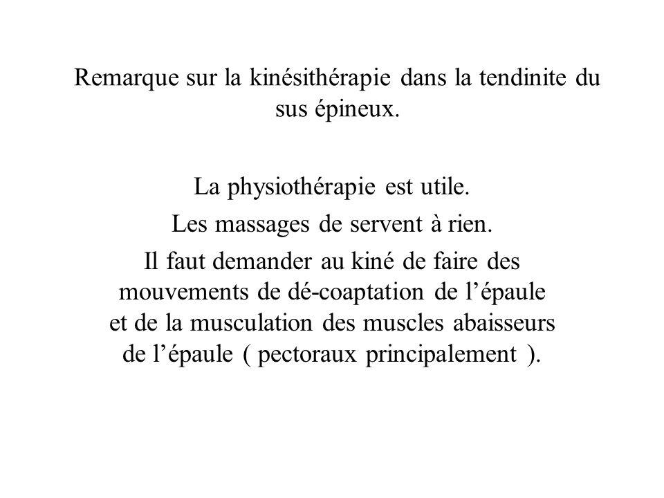 Remarque sur la kinésithérapie dans la tendinite du sus épineux.