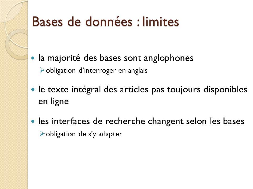 Bases de données : limites