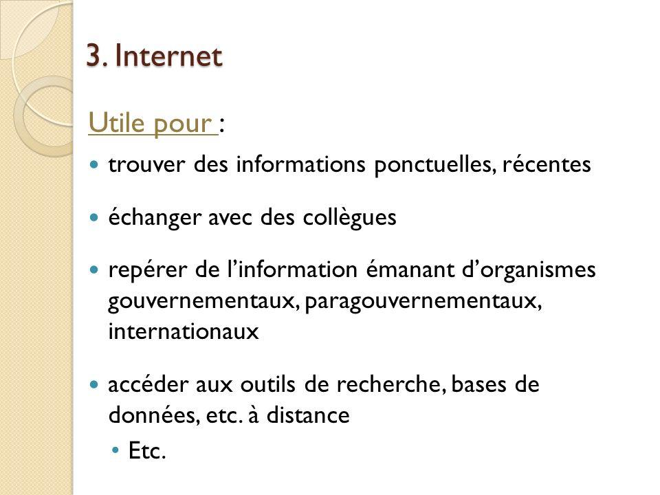 3. Internet Utile pour : trouver des informations ponctuelles, récentes. échanger avec des collègues.
