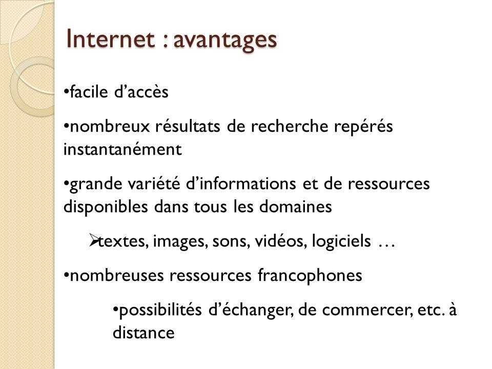 Internet : avantages facile d'accès