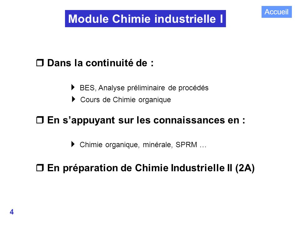 Module Chimie industrielle I