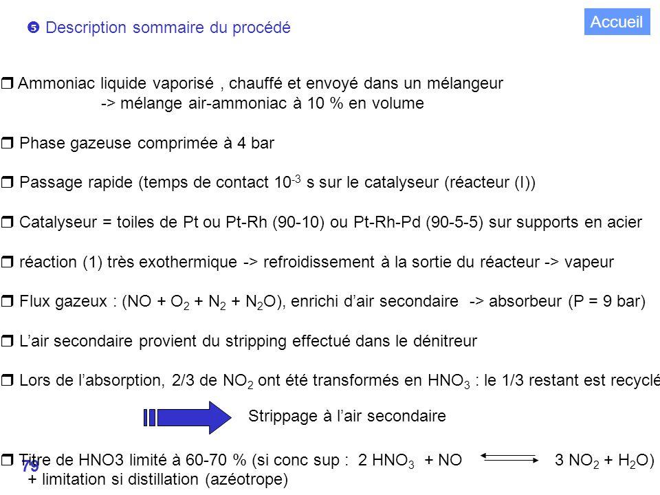 Accueil  Description sommaire du procédé. Ammoniac liquide vaporisé , chauffé et envoyé dans un mélangeur.