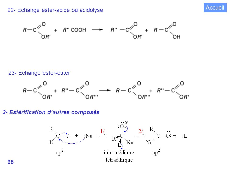 Accueil 22- Echange ester-acide ou acidolyse. 23- Echange ester-ester.