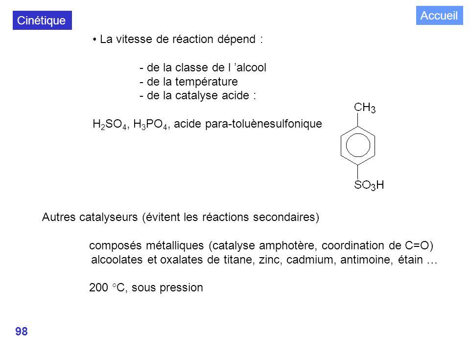 Accueil Cinétique. • La vitesse de réaction dépend : - de la classe de l 'alcool. - de la température.