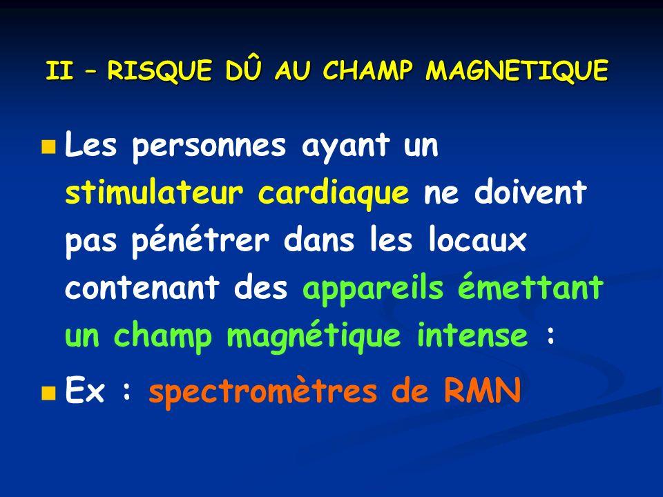 II – RISQUE DÛ AU CHAMP MAGNETIQUE