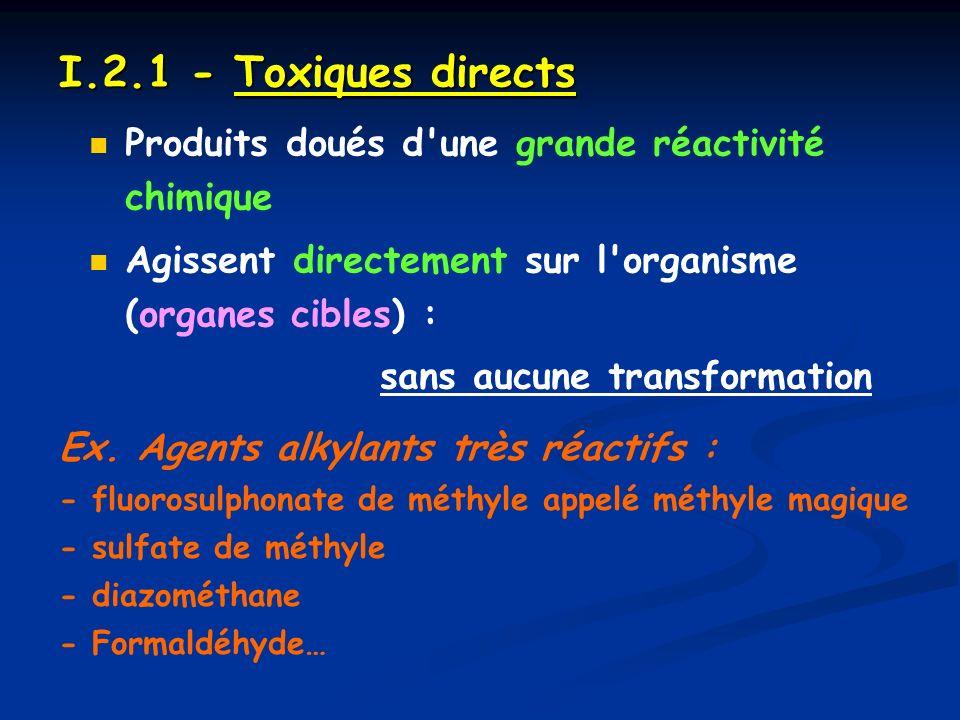 I.2.1 - Toxiques directs Produits doués d une grande réactivité chimique. Agissent directement sur l organisme (organes cibles) :