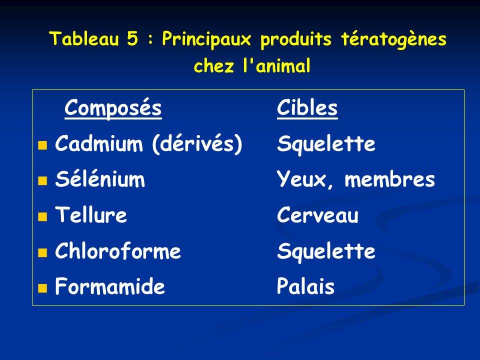 Tableau 5 : Principaux produits tératogènes