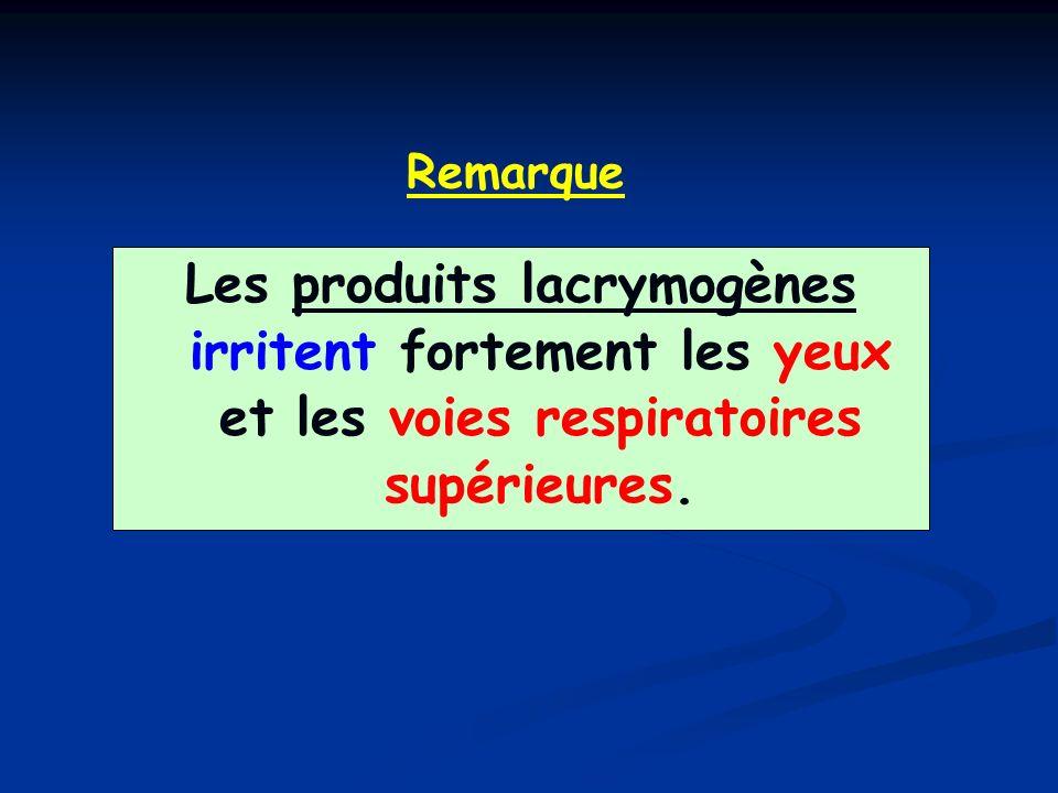 Remarque Les produits lacrymogènes irritent fortement les yeux et les voies respiratoires supérieures.