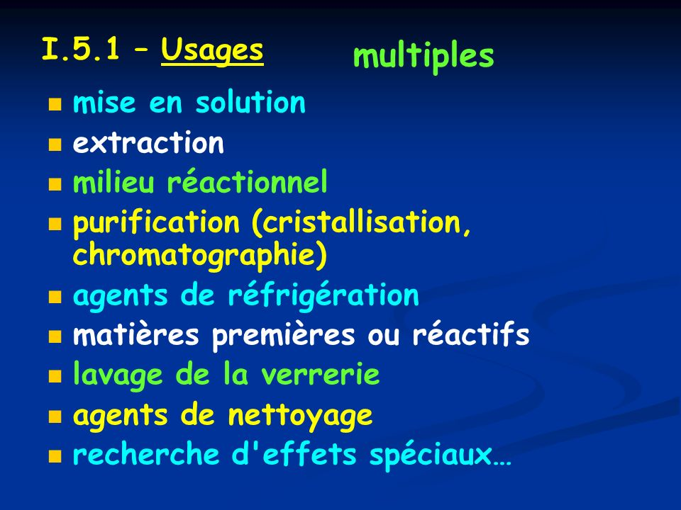multiples I.5.1 – Usages mise en solution extraction