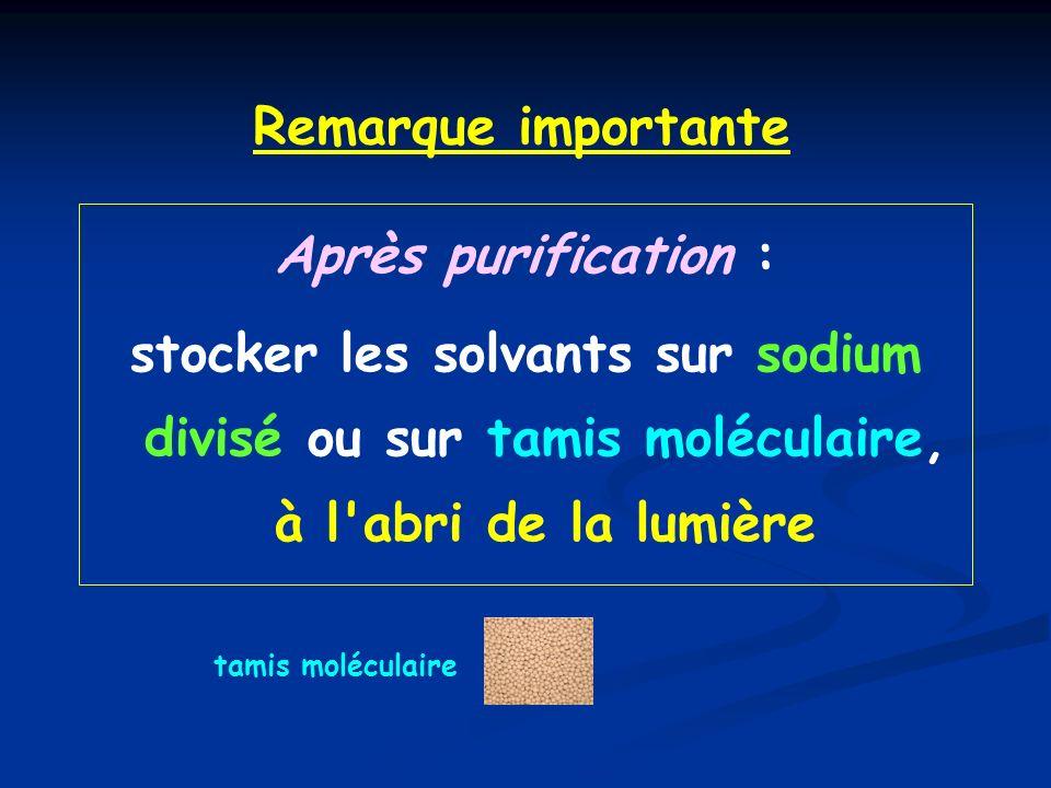 Remarque importante Après purification :