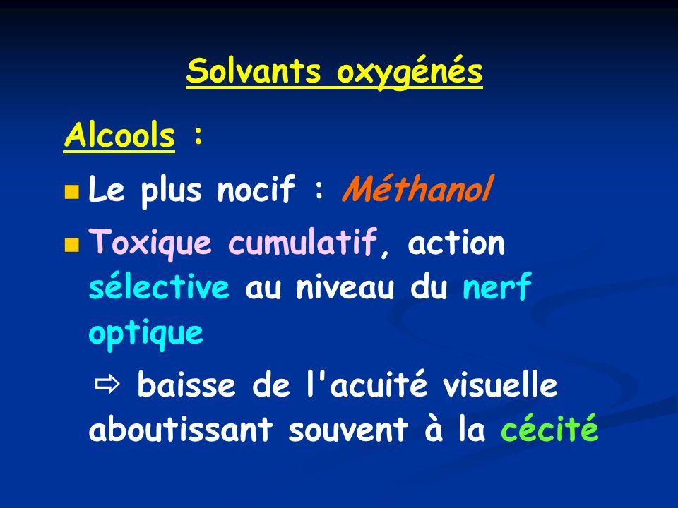 Solvants oxygénés Alcools : Le plus nocif : Méthanol. Toxique cumulatif, action sélective au niveau du nerf optique.