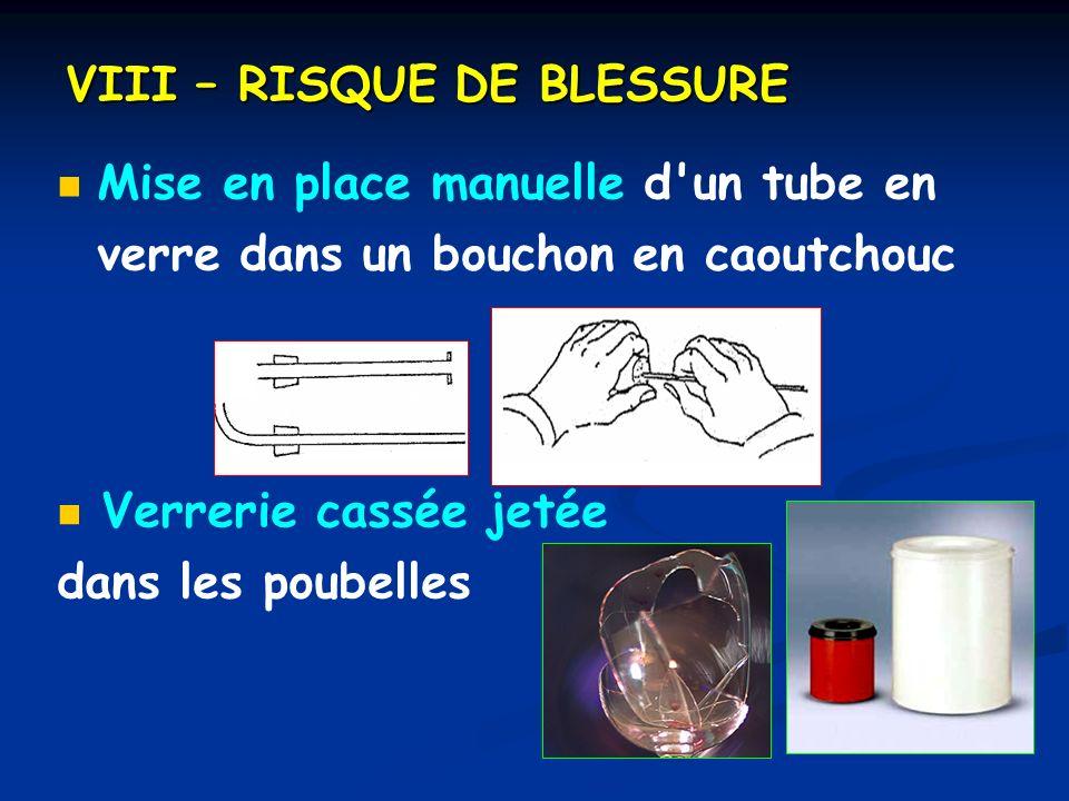 VIII – RISQUE DE BLESSURE