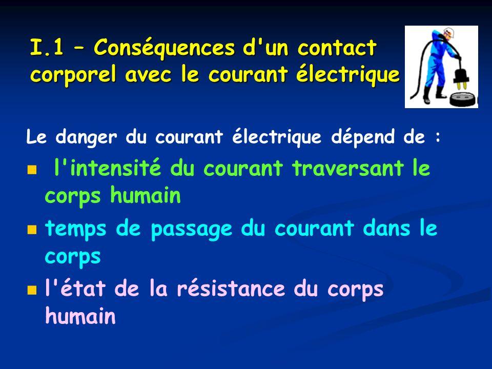 I.1 – Conséquences d un contact corporel avec le courant électrique