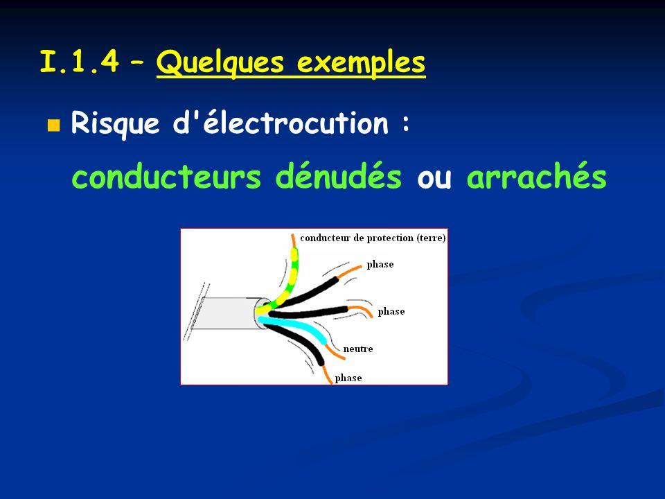 I.1.4 – Quelques exemples Risque d électrocution : conducteurs dénudés ou arrachés