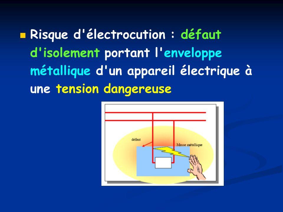 Risque d électrocution : défaut d isolement portant l enveloppe métallique d un appareil électrique à une tension dangereuse