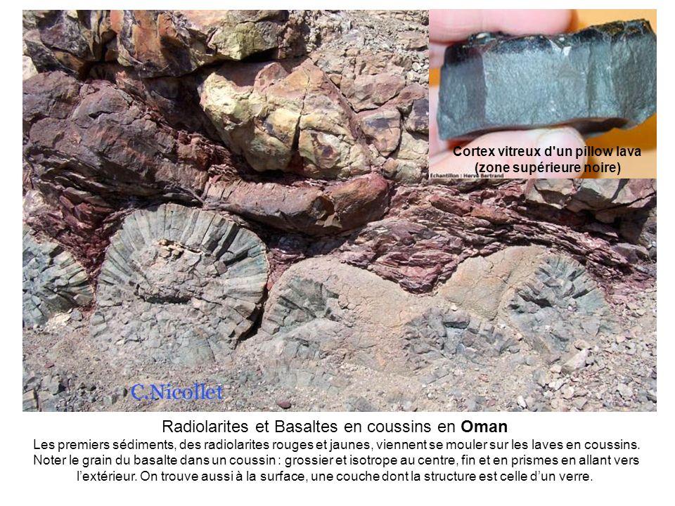 Cortex vitreux d un pillow lava (zone supérieure noire)