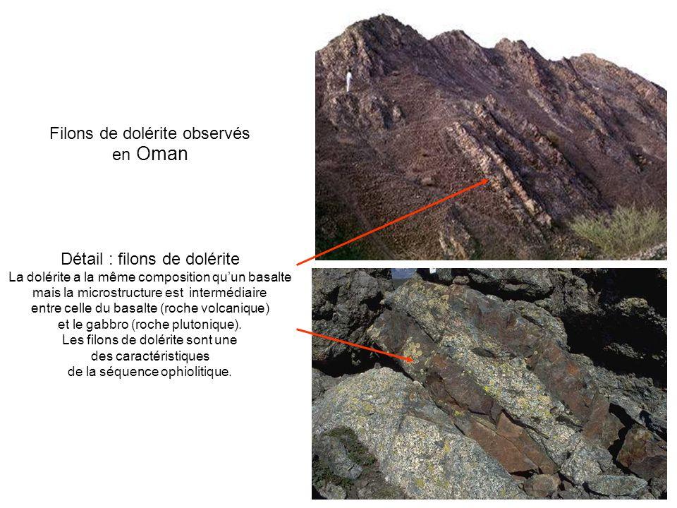 Filons de dolérite observés en Oman