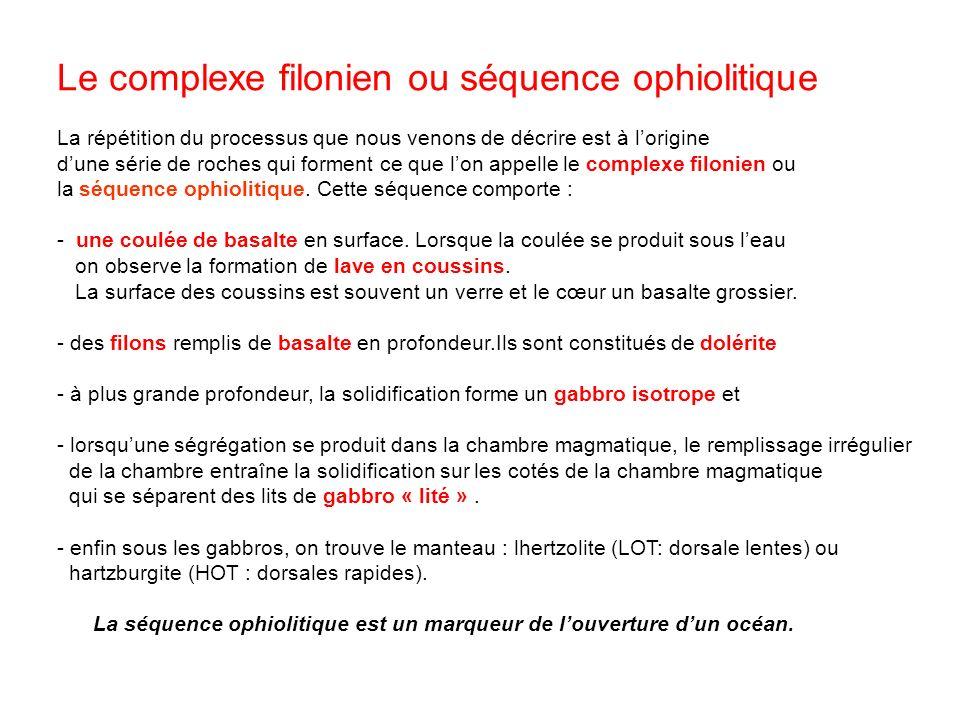 Le complexe filonien ou séquence ophiolitique