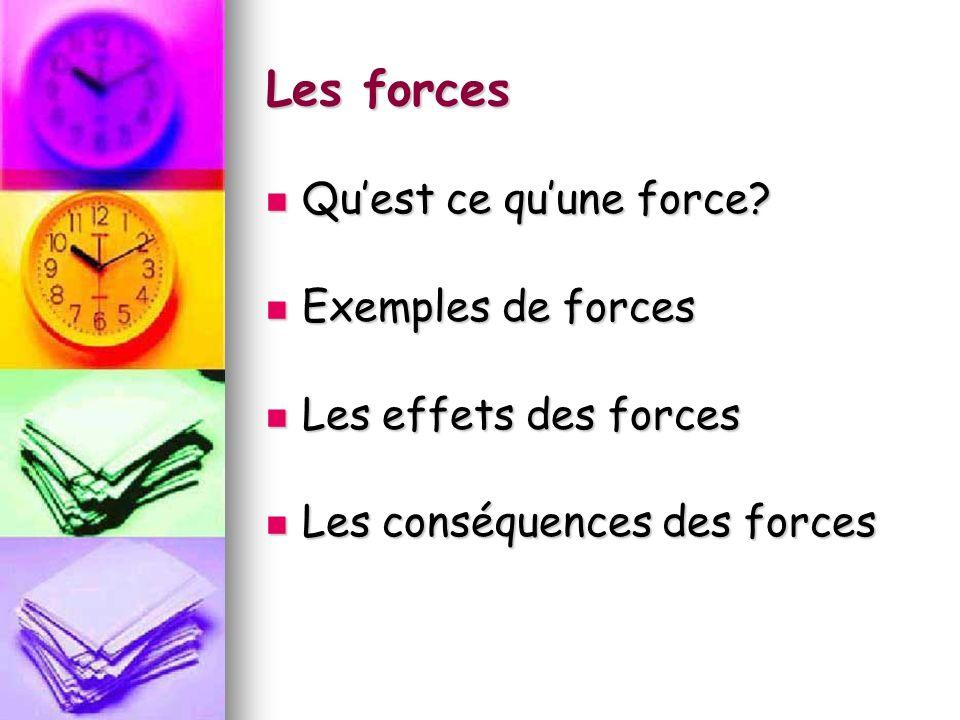 Les forces Qu'est ce qu'une force Exemples de forces