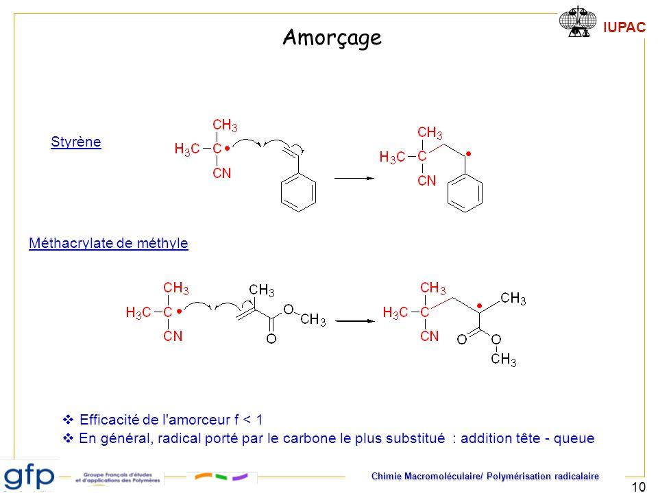 Amorçage Styrène Méthacrylate de méthyle