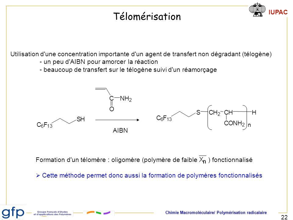 Télomérisation Utilisation d une concentration importante d un agent de transfert non dégradant (télogène)